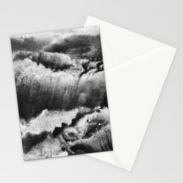 gray black and white gradient, marbling watercolor paint in monotype technique, abstract texture Stationery Cards