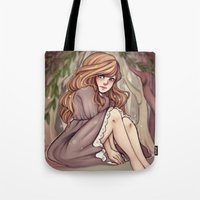 cyarin Tote Bags featuring Tree Girl by Cyarin