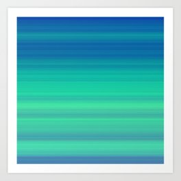 Blue Green Gradient Stripes Art Print