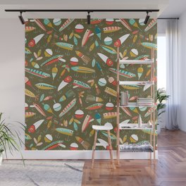 Fishing Lures Green Wall Mural