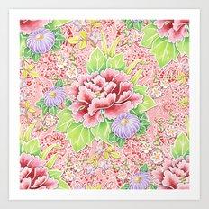 Pink Paisley Kimono Bouquet Art Print