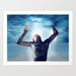 Swimming in the flood Art Print