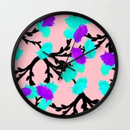 Watercolor Roses Aqua Violet Wall Clock
