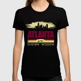 Atlanta, Geogia Gifts  Distressed Coordinates T-shirt