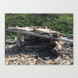 Driftwood hut at Klamath Beach Canvas Print