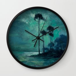 Tropical Nocturnal Landscape with Palms by Charles Warren Eaton Wall Clock