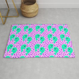 Yellow cute sweet little baby seals in ocean of pink hearts adorable funny animal patter. Nursery. Rug