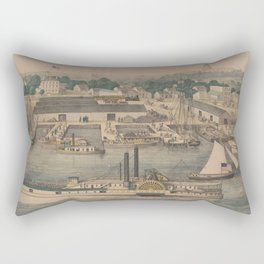 Vintage Pictorial Map of The 6th Street Wharf - Washington DC Rectangular Pillow