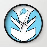 power ranger Wall Clocks featuring Cyan Spirit Ranger by JoSumdac