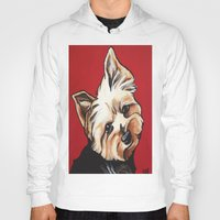 yorkie Hoodies featuring Pet/Dog Portrait of Yorkshire Terrier/Yorkie on Red by Cheney Beshara