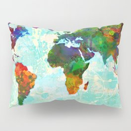 Abstract Map of the World Pillow Sham