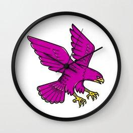 Peregrine Falcon Swoop Mono Line Wall Clock