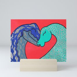 Nessie finds love Mini Art Print