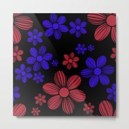 Red and Blue Floral Pattern Metal Print