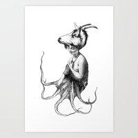 capricorn Art Prints featuring capricorn by Carolina Espinosa