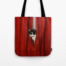 Peek-A-Boo Tuxedo Kitty Tote Bag