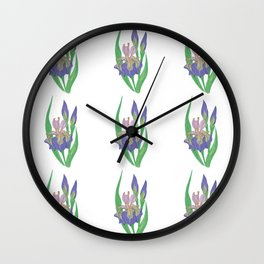 Blooming iris Lilac mirage Wall Clock