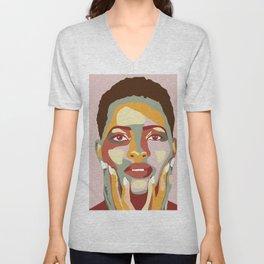 Bold Colors Woman Portrait Pop Art Unisex V-Neck