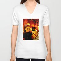 selfie V-neck T-shirts featuring Selfie by Danielle Tanimura