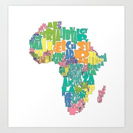 African Continent Cloud Map In Pastels Art Print