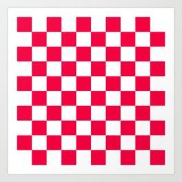 Cheerful Red Checkerboard Pattern Art Print