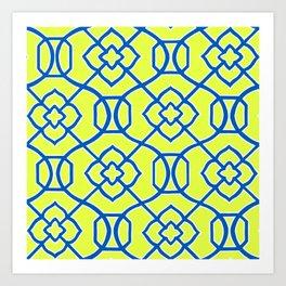 Moroccan Lattice~ Yellow & Blue Art Print