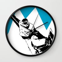snowboarding Wall Clocks featuring Snowboarding Design by Cwilwol