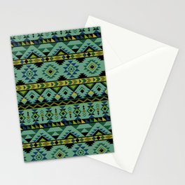 Blue and green aztec pattern Stationery Cards