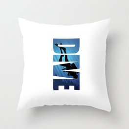 Dive Typography Underwater Scuba Diving Diver Throw Pillow