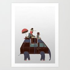 Going by Elephant Art Print