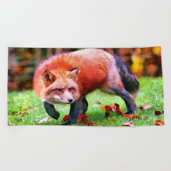 Autumn Fox hunting Beach Towel