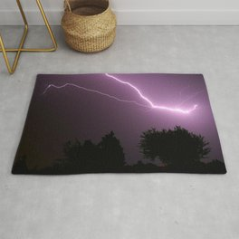 Purple Lightning Night Sky Rug