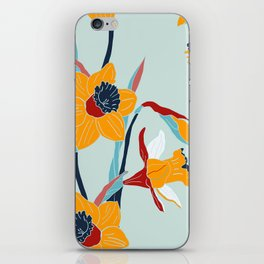 Mid Century spring flowers iPhone Skin