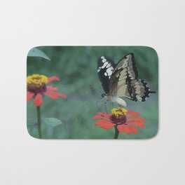 Butterfly on red Flower Bath Mat