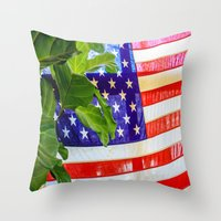 flag Throw Pillows featuring Flag by Jodi Kassowitz Photography