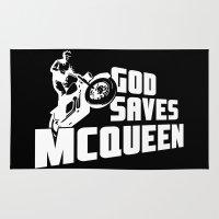 steve mcqueen Area & Throw Rugs featuring God saves McQueen by dutyfreak