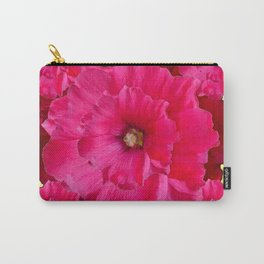 YELLOW FUCHSIA-PINK  DOUBLE  HOLLYHOCK FLOWERS GARDEN Carry-All Pouch
