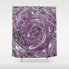 Rose,liquid Metal Shower Curtain