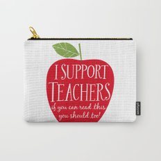 I Support Teachers (apple) Carry-All Pouch
