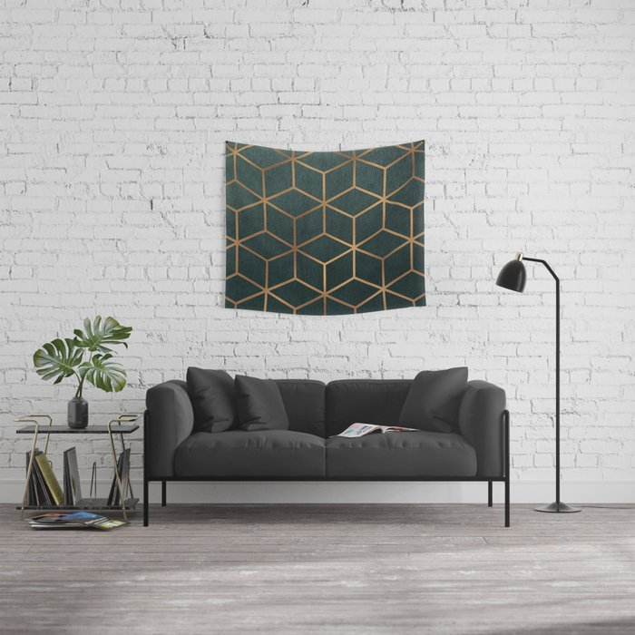 Dark Teal and Gold - Geometric Textured Gradient Cube Design Wall Tapestry
