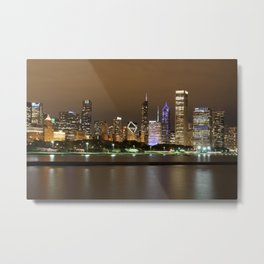 Beautiful river side city view in the night with colorful lights and tall buildings Metal Print