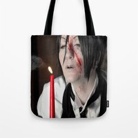 kuroshitsuji Tote Bags featuring Sebastian Michaelis - Contract by Lalasosu2