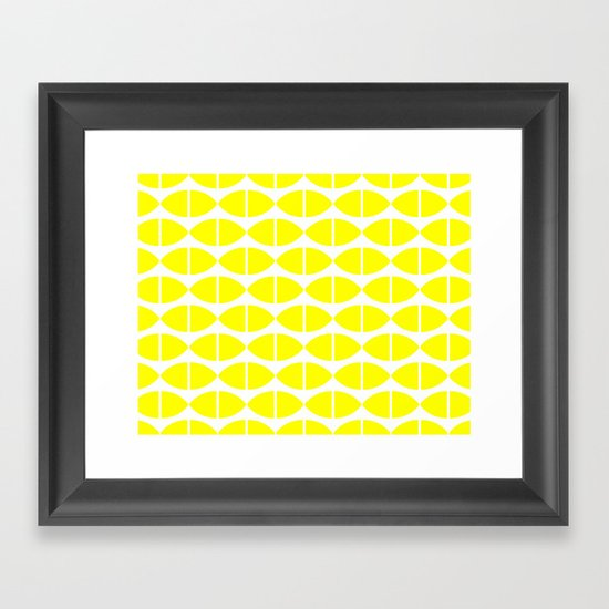 Lemons Pattern Framed Art Print