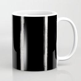 Skinny Strokes Gapped Vertical Off White on Black Coffee Mug