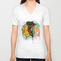blackhawks V-neck T-shirts featuring chicago blackhawks hockey by abstract sports