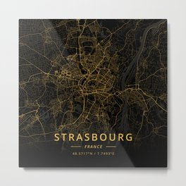Strasbourg, France - Gold Metal Print