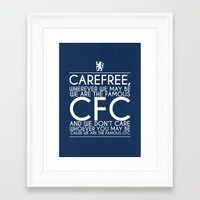 chelsea fc Framed Art Prints featuring Carefree Chelsea by Little Aig
