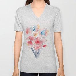 22  | Loose Watercolor Flower | 191015 Unisex V-Neck