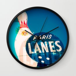 Paris Bowling Lanes Neon Sign Wall Clock