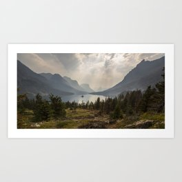 Panoramic Landscape Mountains & Lake Art Print